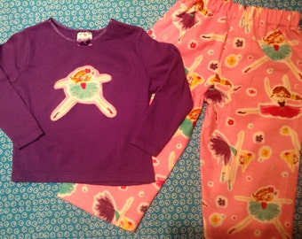 BALLERINA  flannel lounge set includes pants and tshirt with Ballerina  applique Size 24 months / 2T