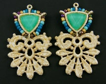 Gold Lacy Earring Finding Green Blue Turquoise Beaded Lace Pendant Component Seed Bead Jewelry Supply |GR10-11|2