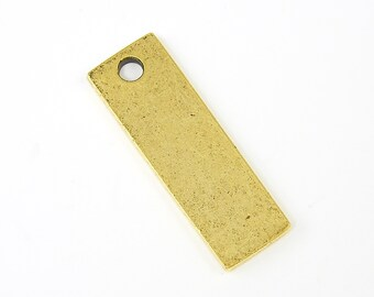 Antique Gold Stamping Blank Antiqued Rectangle Tag Oxidized Pendant Charm Pendant for Layering |NU3-8|XN