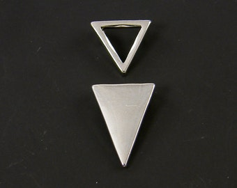 Silver Triangle Pendant Geometric Pair Open Closed Triangle Charms for Silver Layering Necklace Jewelry Component |S21-6|2