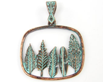 Copper Tree Necklace Pendant Verdigris Patina Green Leaf Woodland Jewelry |GR11-10|1