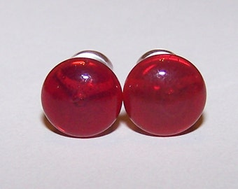 2 gauge red single flare glass plugs with o-rings (658)