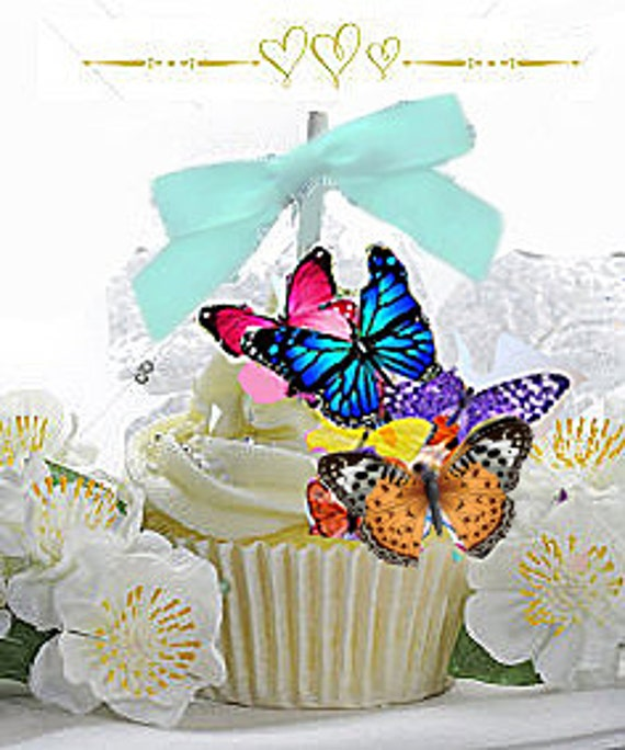 Butterfly Wafers Cake Decoration : 15 Edible Butterfly Wafer Cake Decorations,cupcake toppers ...
