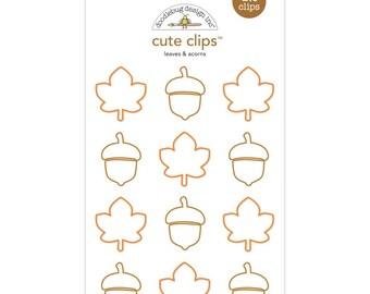 Leaves & Acorns Paper Clips (12/Pkg) Flea Market Doodlebug Cute Clips (5346)