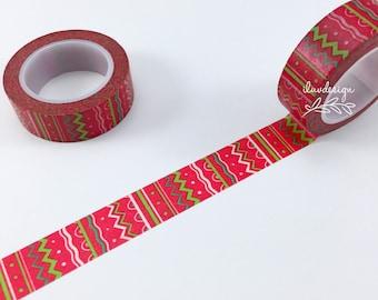 Doodle Washi Tape • Christmas Washi Tape • Doodle Lines Washi Tape •  Zig Zag Decorative Tape • Planner Supply • Christmas Paper Crafting