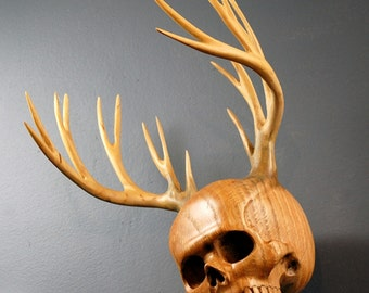 Antler Skull Wood carving and wooden antlers The Woodsman Urn by Jason Tennant.