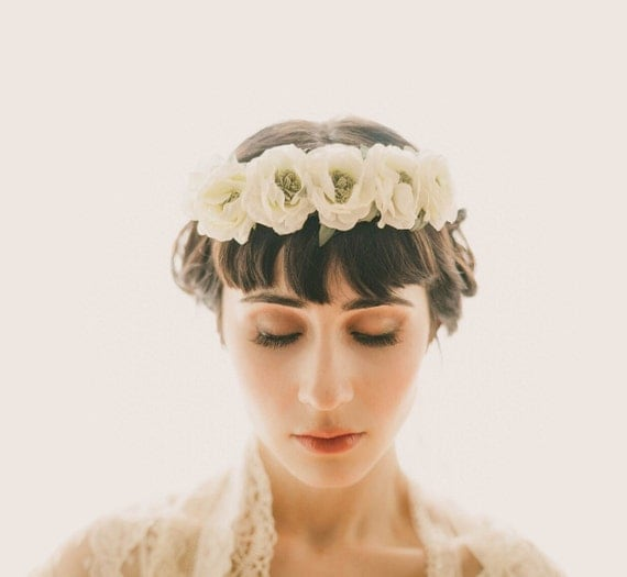 Bridal Veil flower crown, floral wreath with lace veil, boho circlet, White and ivory garland, bridal head piece, woodland wedding - MAGPIE