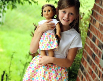 Matching Girl and Doll Clothes - Fits American Girl Doll - Twirl Skirts in Diddly Dot Yellow, Many Sizes Available