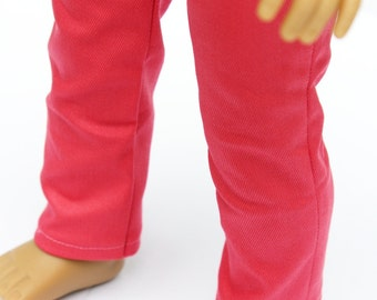 Fits like American Girl Doll Clothes - Coral Pink Skinny Pants, Made To Order