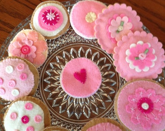 One Dozen, Felt Play Cookies, Pink and Pretty