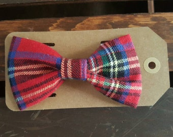 Plaid Red and Navy Blue Flannel Bow Tie Holiday Bows