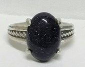 Night Sky Ring Celestial Stars Ring Sterling Silver US Size 7 Blue Sandstone Dark Starry Sky Mother's Day Gift For Her Birthday Missing You