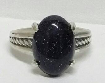 Night Sky Ring, Celestial Stars Ring, Sterling Silver Ring, US Size 7 Ring, Blue Sandstone Ring, Dark Sky  by Maggie McMane Designs