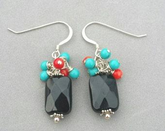 Black Onyx Cluster Earrings, Blue Turquoise, Red Coral, Sterling Silver Earrings, Dangle Earrings, Cluster Earrings By Maggie McMane Designs