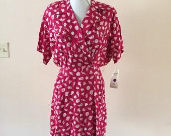 Bright Pink Romper Vintage 1980s sz S/M   NWT