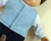 Bitty or Bitty Twin Boy Doll Clothes - Blue Corduroy Pants, Sweater Vest, Turtleneck - 3 piece outfit.