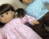 Bitty or Bitty Twin Doll Clothes - Boy Girl Twins Pink Polka Dots Nightgown and Blue Polka Dots Pajamas - 3 piece set