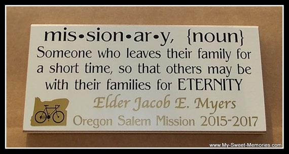 12x6 LDS Missionary Wood Plaque with State, Country, or Flag - Vinyl Lettering