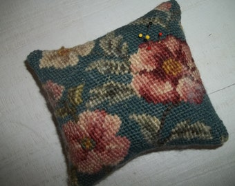 Needlepoint Pincushion, Upcycled Vintage Needlepoint