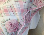 Vintage Pillowcase Plaid Pink Roses Flowers Crocheted White Pink Trim Shabby Chic Standard Size
