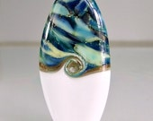 White Blue Silver Lampwork Glass Focal Bead