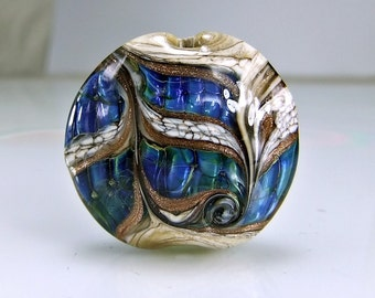 Glass Lampwork Focal Bead  Antique Ivory Blue Goldstone