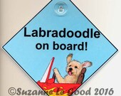LABRADOODLE ON Board laminated Dog in Car painting sign by Suzanne Le Good