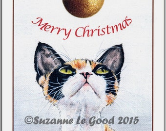 Large DEVON REX CAT Christmas Card by Suzanne Le Good