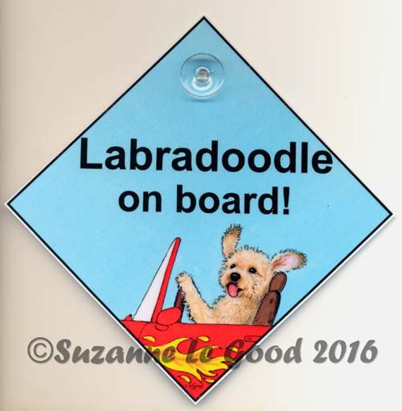 Labradoodle on board laminated dog in car painting sign by