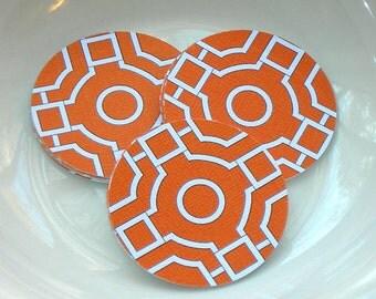 """Orange Geo Pattern 2"""" Diecut Circle Set or Envelope Seal Stickers"""