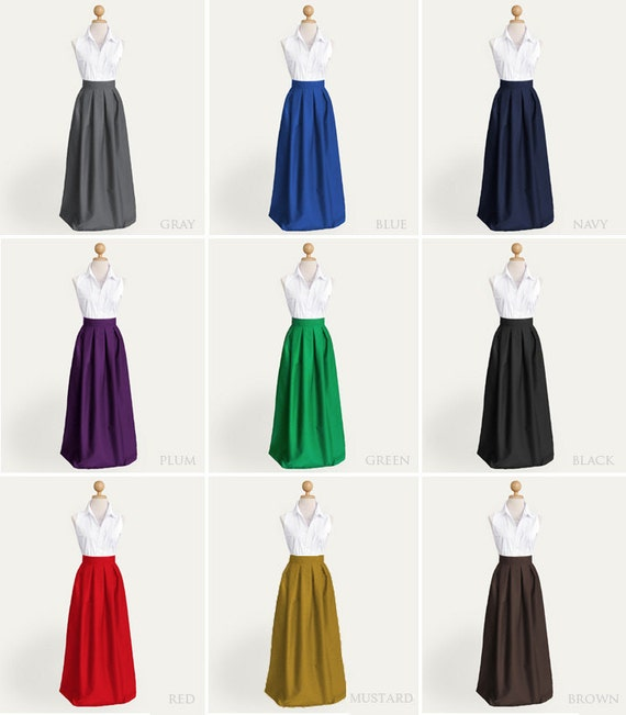 Cotton pleated long skirt with pockets custom size maxi