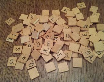 104 Wooden Scrabble Tiles