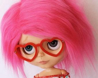 Hot pink Blythe Doll  wig fake fur MonstroDesigns