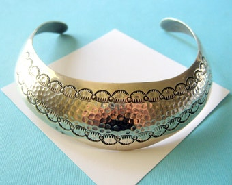 Navajo Wide Sterling Silver Stamped Choker Collar