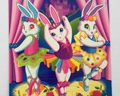 Vintage Lisa Frank Folder ~ Ballerina Bunnies