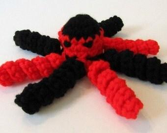 Georgia, the Red & Black Plush Octopus. School Colors Cthulhu. Amigurumi Octopus, Kawaii Cthulhu. Ready-to-Ship