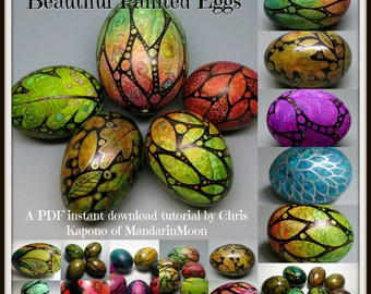 Beautiful Painted Eggs,  A PDF Tutorial, Egg Art, DIY