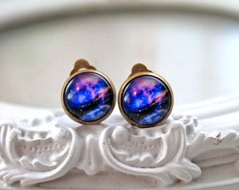 Pretty galaxy clip on earrings space astronomy purple black