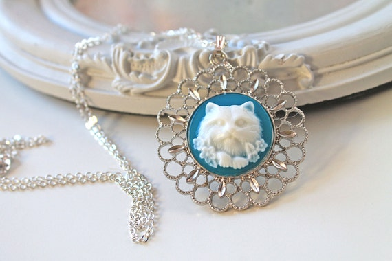 Cat Cameo long Necklace in blue sweet kawaii lolita