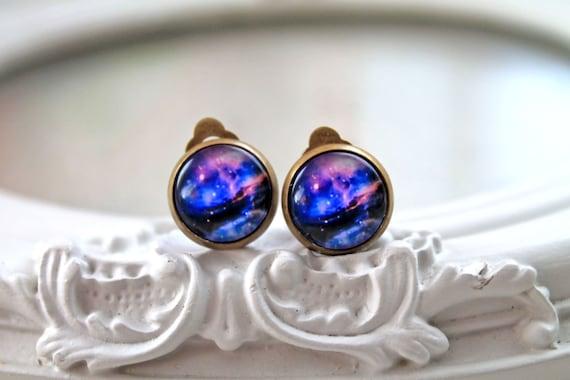 Pretty galaxy clip on earrings space astronomy purple black