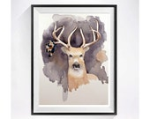 Animal art Deer art / A smart deer with antlers / Archival PRINT / stag buck wildlife art / Woodland wild animal painting  cabin  A