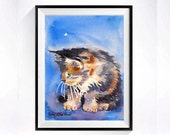 6. Calico Pursian Cat Art Watercolor PRINT, Black and white cat paintings, Meme art animal painting, Persian pet art kitty, Aquarelle blue