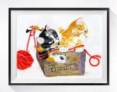 Calico Cat Art / Watercolor PRINT/ Tabby Kitten Art / Animal Painting / Pet art Kitten / Cat theme wall art  OR