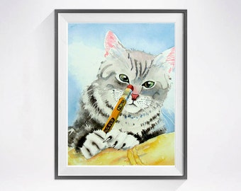 22. Cat Art Print - Cat Painting - Striped grey cat Watercolor Print for a cat lover Kids wall art Child's room decor - C