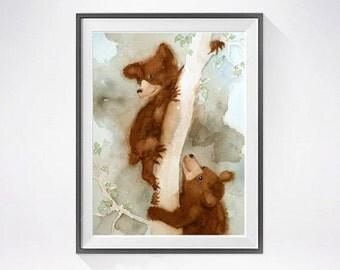 Bear Cubs Art Print / Watercolor Print / Watercolor Painting / Nursery animal art / Boys room / Girls room / Art for children / 8 x 10 N