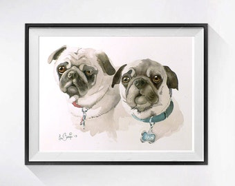 Dog Painting Watercolor Print Animal Art Pug dog pet Pug dog illustration dog wall decor dog theme  dog print Grey painting