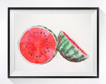 Fruit Art Prints, Watermelon Art, Watercolor painting, kitchen art, Fruit art, Red art print, Kitchen decorating ideas, LaBerge