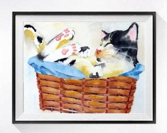 Cat Watercolor Print painting cat artwork watercolour painting Kids wall art Painting of kitty Watercolor cat painting kitten painting