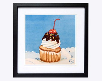 Cupcake Art watercolor PRINT / Dessert art cake painting kitchen art / Kitchen decor / Cake wall decor / Pastry art / Blue painting K