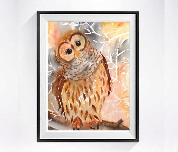 Owl Painting / watercolor PRINT / Bird print animal owl art / Wildlife nature woodland bird artwork / Owl giclee print bird art